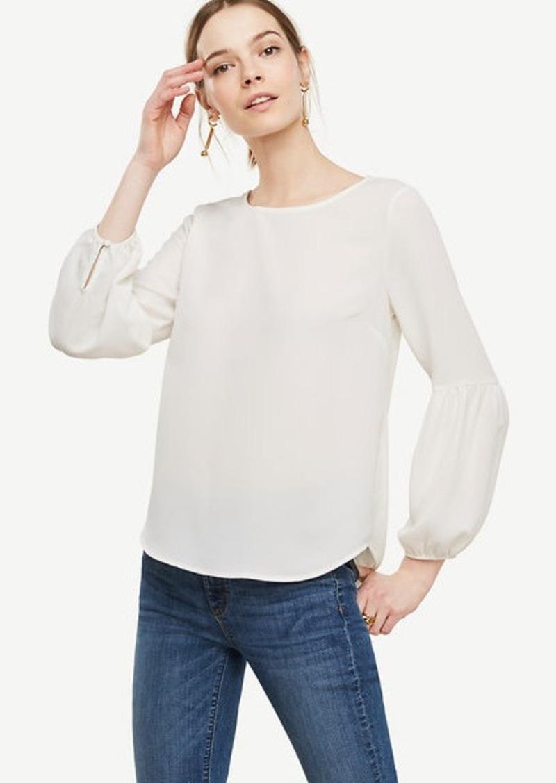 Ann Taylor Lantern Sleeve Blouse Now 12 44