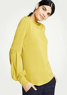 Ann Taylor Lantern Sleeve Mock Neck Top