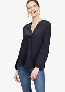 Ann Taylor Lantern Sleeve Silk Blouse