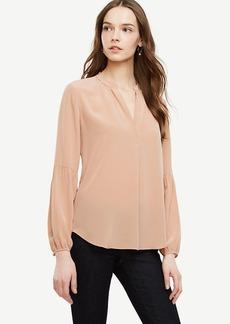 Lantern Sleeve Silk Blouse