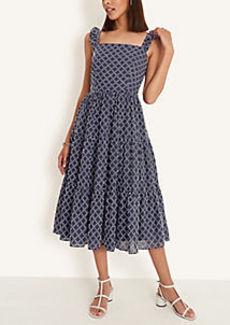 Ann Taylor Lattice Ruffle Tiered Midi Dress