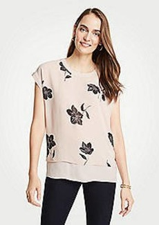 Ann Taylor Leaf Floral Double Layer Tee