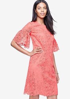 Ann Taylor Leaf Lace Flare Sleeve Shift Dress