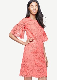 Leaf Lace Flare Sleeve Shift Dress