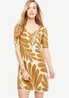 Leaf Petal V-Neck Sweater Dress
