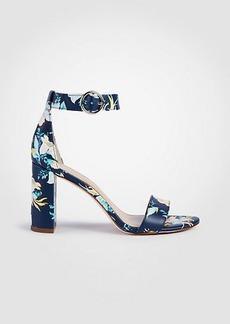 Ann Taylor Leannette Floral Leather Block Heel Sandals