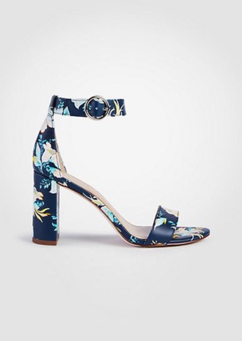 1195a767d Ann Taylor Leannette Floral Leather Block Heel Sandals