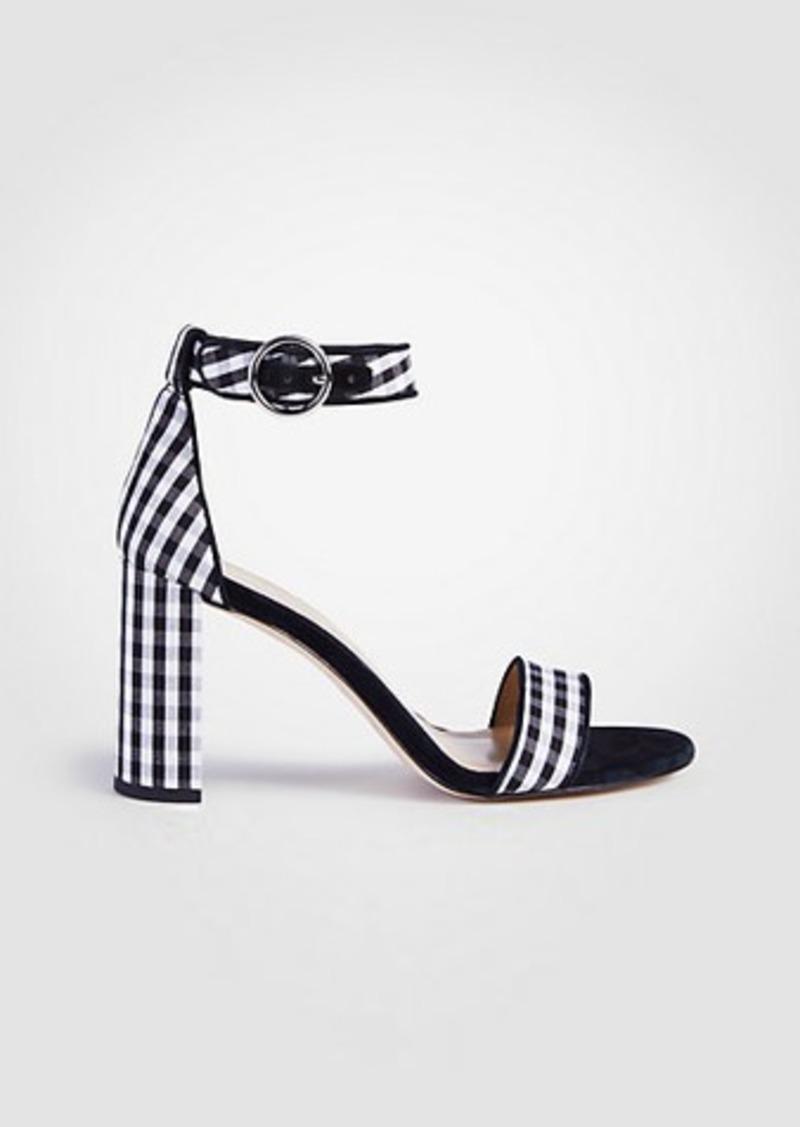 02160a7e7e9fee Ann Taylor Leannette Piped Gingham Block Heel Sandals