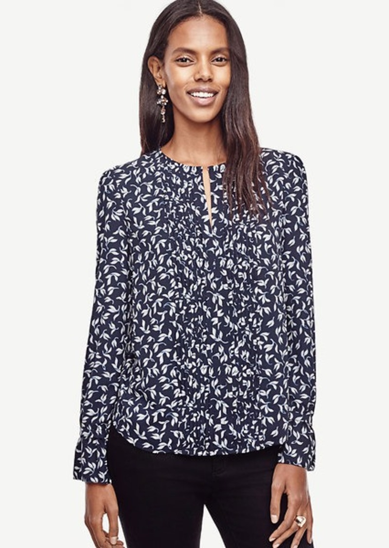 Ann Taylor Leaves Split Neck Blouse