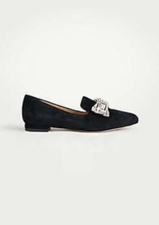Ann Taylor Lennon Pearlized Crystal Bow Suede Loafers