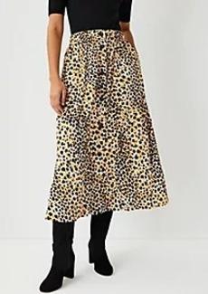 Ann Taylor Leopard Print Button Front Skirt
