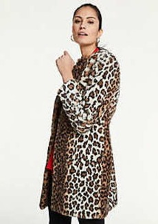 Ann Taylor Leopard Print Faux Fur Jewel Neck Coat