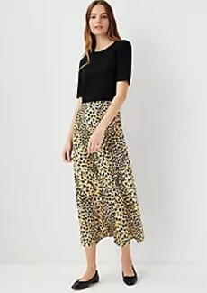 Ann Taylor Leopard Print Mixed Media Sweater Dress