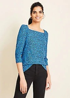 Ann Taylor Leopard Print Puff Sleeve Square Neck Top