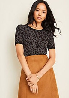Ann Taylor Leopard Print Seasonless Yarn Sweater Tee