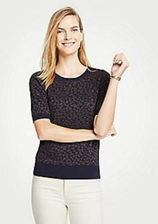 Ann Taylor Leopard Print Short Sleeve Sweater