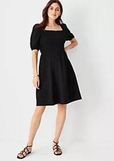 Ann Taylor Linen Blend Puff Sleeve Smocked Flare Dress
