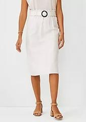 Ann Taylor Linen Cotton Belted Paperbag Pencil Skirt