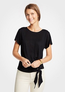 Ann Taylor Linen Tie Front Tee