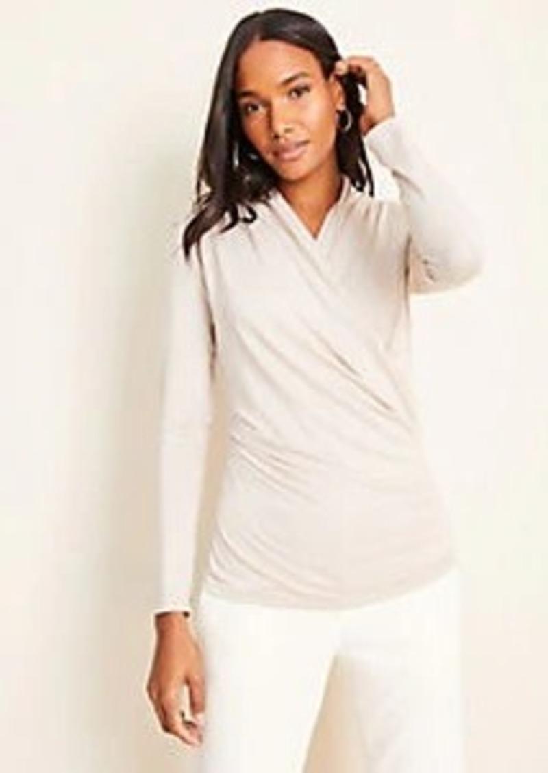 Ann Taylor Shimmer Long Sleeve Wrap Top