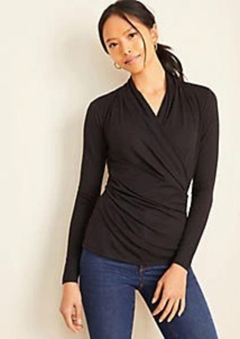 Ann Taylor Long Sleeve Wrap Top