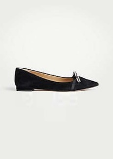 Ann Taylor Lorelai Crystal Bow Leather Flats