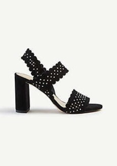Ann Taylor Lorna Studded Perforated Suede Heeled Sandals