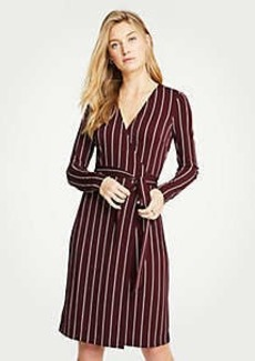 Ann Taylor Striped Matte Jersey Wrap Dress