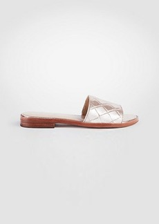 Ann Taylor Lyra Metallic Leather Slide Sandals