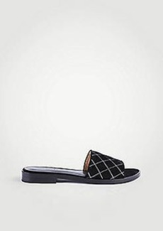 Ann Taylor Lyra Suede Quilted Slide Sandals
