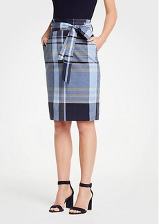 Ann Taylor Madras Tie Waist Pencil Skirt