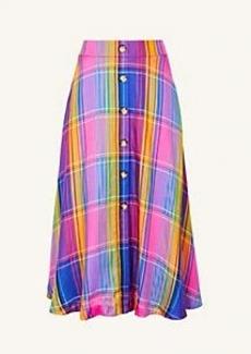 Ann Taylor Madras Plaid Button Maxi Skirt