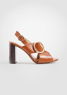 Ann Taylor Magda Leather Buckle Block Heel Sandals