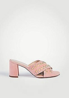 Ann Taylor Mariah Suede Studded Heeled Sandals