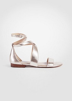 Ann Taylor Mariel Metallic Leather Wrap Flat Sandals