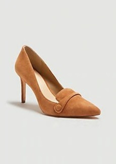 Ann Taylor Maryanne Suede Button Loafer Pumps