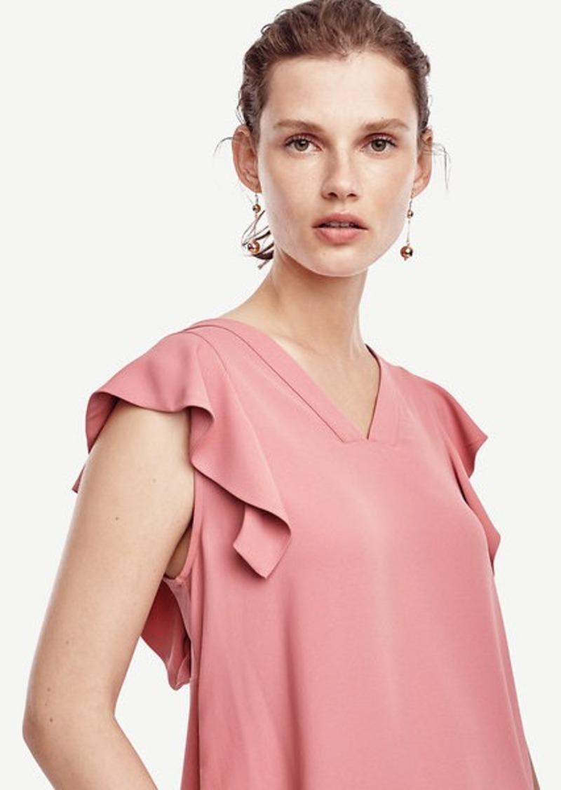 Ann Taylor Matte Jersey Flutter Sleeve Top