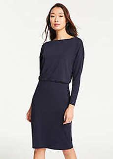 Ann Taylor Matte Jersey Shirred Sheath Dress