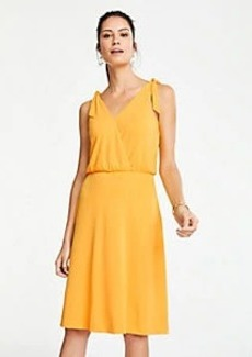 Ann Taylor Matte Jersey Shoulder Tie Flare Dress