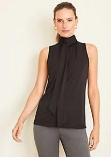 Ann Taylor Matte Jersey Tie Neck Shell