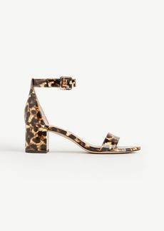 May Leopard Print Patent Block Heel Sandals