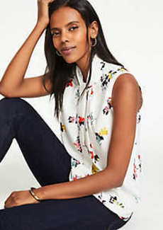 Ann Taylor Meadow Floral Knot Neck Blouse