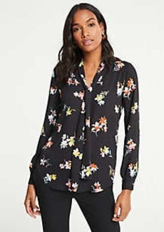 Ann Taylor Meadow Floral Tie Neck Blouse