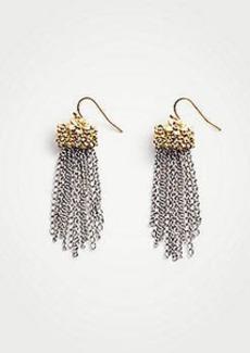 Ann Taylor Metal Flower Tassel Earrings