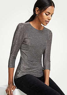 Ann Taylor Shimmer Puff Sleeve Top