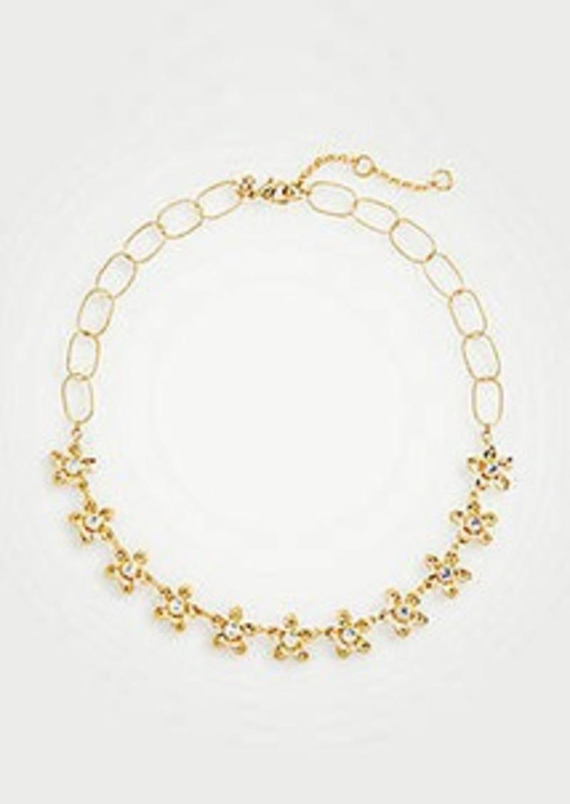 Ann Taylor Metallic Flower Necklace