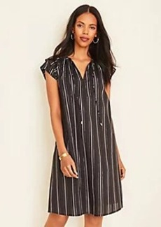 Ann Taylor Metallic Stripe Tie Neck Shift Dress