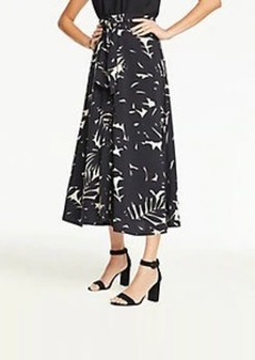 Ann Taylor Midnight Jungle Tie Waist Maxi Skirt