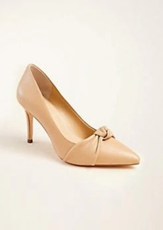 Ann Taylor Mila Leather Knot Bow Pumps