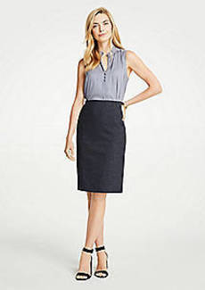 Ann Taylor Mini Check Pencil Skirt